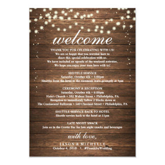 Rustic Wedding Itinerary - Wedding Welcome Letter