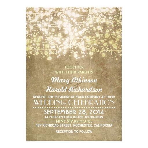 rustikale Hochzeitseinladung mit Schnurlichtern Personalisierte Ankündigungskarten