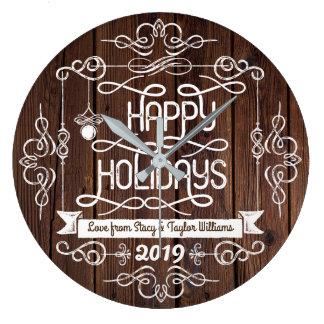 Rustikale Holz-frohe Feiertage Große Wanduhr