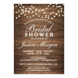 Rustic Wood & Lights Bridal Shower Invitation