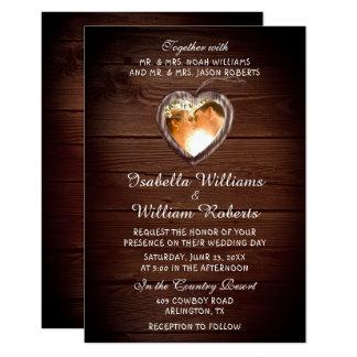 Rustikale hölzerne Herz-Hochzeits-Foto-Einladung Karte
