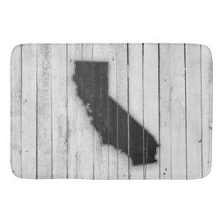Rustikale hölzerne Kalifornienschwarzweiss-Matte Badematten