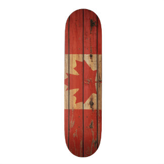 Rustikale hölzerne Kanada-Flagge Bedrucktes Skateboard