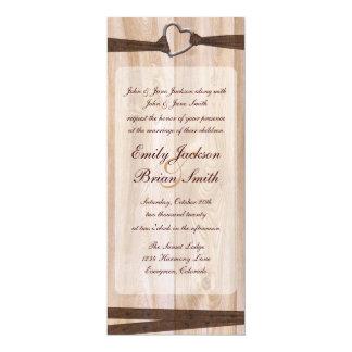Rustikale hölzerne lange 10,2 x 23,5 cm einladungskarte