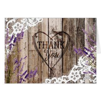 Rustikale hölzerne Lavendel-Spitze danken Ihnen zu Karte