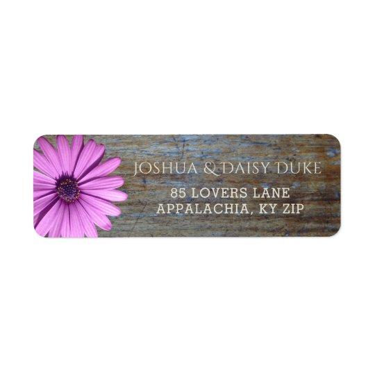 Rustikale hölzerne lila Land-Hochzeits-Aufkleber Rücksendeetiketten