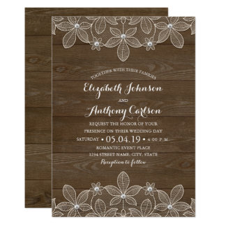 Rustikale hölzerne Wedding Spitze und Perlen 12,7 X 17,8 Cm Einladungskarte