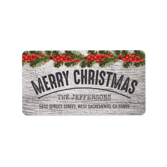 Rustikale hölzerne Weihnachtsfreude Adress Aufkleber