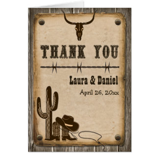 Rustikale hölzerne Western-Art danken Ihnen zu Mitteilungskarte