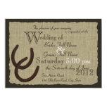 Rustikale Hufeisen und Leinwand-Hochzeit 12,7 X 17,8 Cm Einladungskarte