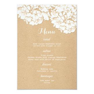 Rustikale Hydrangeas-Blumenhochzeits-Menü 8,9 X 12,7 Cm Einladungskarte