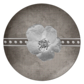 Rustikale karierte Blumen-Platte Teller