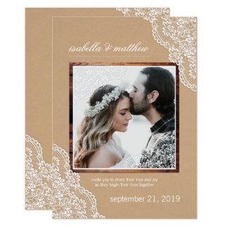 Rustikale Kraftpapierspitze-u. -holz-Foto-Hochzeit 12,7 X 17,8 Cm Einladungskarte