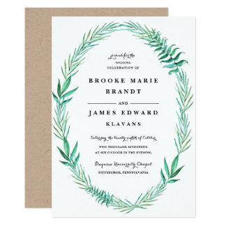 Rustikale Kranz-Grün-Hochzeits-Einladung Karte