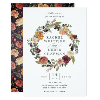 Rustikale Kranz-Hochzeits-Einladung der Blüten-| Karte