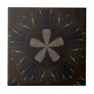 Rustikale Kunst Kaleidoskop-Entwurfs-dunkle Browns Fliese