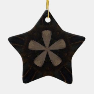 Rustikale Kunst Kaleidoskop-Entwurfs-dunkle Browns Keramik Ornament