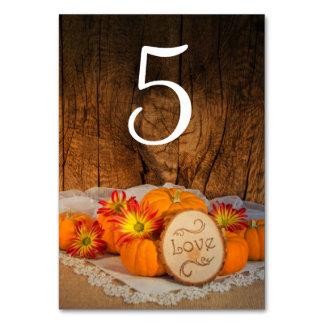 Rustikale Kürbis-Hochzeit im Herbsts-Tischnummern Karte
