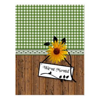 Rustikale Land-Charme-Sonnenblume-bewegliche Postkarten