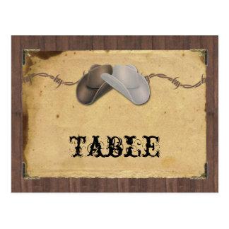 Rustikale Land-Cowboyhut-StachelTischnummer Postkarte