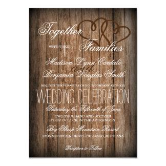 Rustikale Land-Doppelt-Herz-hölzerne Hochzeit lädt 11,4 X 15,9 Cm Einladungskarte