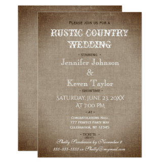 Rustikale Land-Hochzeit beunruhigtes Vintages Karte