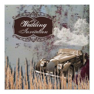 Rustikale Land-Hochzeit Western des antiken Autos Karte