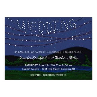 Rustikale Land-Hochzeits-Schnur-Lichter Karte
