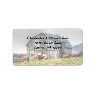 Rustikale Land-Scheunen-und Pferdeadresse Adressaufkleber