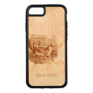Rustikale Land-Seite Brownenglische Fox Carved iPhone 8/7 Hülle