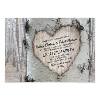 Rustikale Land-silberne Birken-Baum-Hochzeit Karte