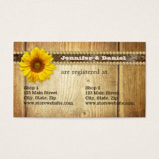 Rustikale Land-Sonnenblume-Brautregister-Karte Visitenkarte
