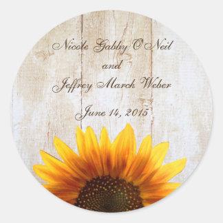 Rustikale Land-Sonnenblume-Hochzeit Runder Aufkleber