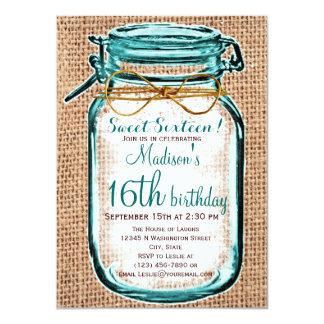 Rustikale Land-Weckglas-Geburtstags-Einladung 11,4 X 15,9 Cm Einladungskarte
