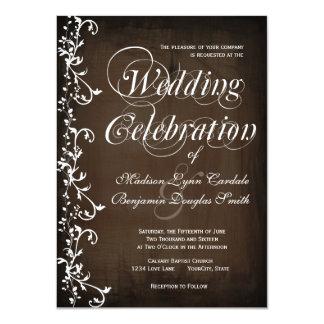 Rustikale Land-Wirbels-Brown-Hochzeits-Einladungen 11,4 X 15,9 Cm Einladungskarte
