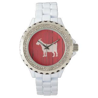 Rustikale Land-Ziegen-rote hölzerne Platte Armbanduhr