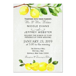 Rustikale Land-Zitronen-Sommer-Hochzeits-Einladung Karte