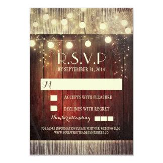 Rustikale Landschnur beleuchtet Hochzeit 8,9 X 12,7 Cm Einladungskarte