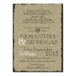Rustikale Leinwand-Blick-Hochzeit 14 X 19,5 Cm Einladungskarte