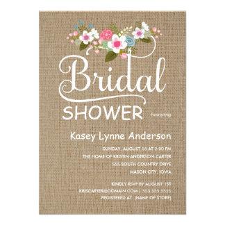 Rustikale Leinwand-BlumenBrautparty Einladungskarten