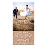 Rustikale Leinwand-Druck-Hochzeit danken Ihnen Fot Individuelle Foto Karten