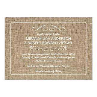 Rustikale Leinwand-Hochzeits-Einladungen