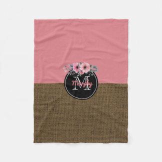 Rustikale Leinwand-rosa mit BlumenKinderzimmer des Fleecedecke