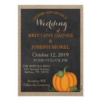 Rustikale Leinwand-Tafel-orange Kürbis-Hochzeit Karte