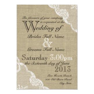 Rustikale Leinwand und Spitze-Land-Hochzeit 12,7 X 17,8 Cm Einladungskarte