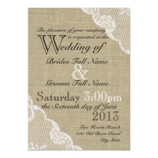Rustikale Leinwand und Spitze-Land-Hochzeit Einladungskarten