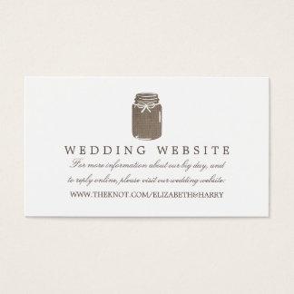 Rustikale Leinwand-Weckglas-Hochzeits-Website Visitenkarte
