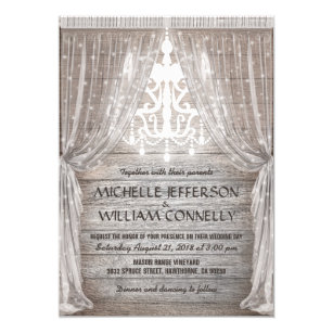 Rustikale Leuchter Scheunen Drapierungs Hochzeit Einladung