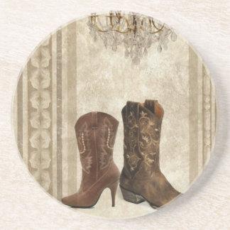 Rustikale Leuchter-Westernland-Cowboystiefel Getränkeuntersetzer