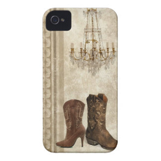 Rustikale Leuchter-Westernland-Cowboystiefel iPhone 4 Cover